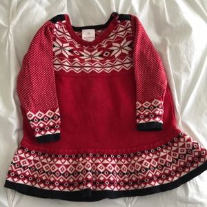 Hanna Andersson red snowflake sweater dress